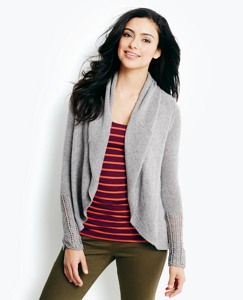 Pointelle Sleeve Cardigan