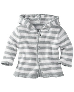 Hoodie Stripe Cardigan In Organic Cotton