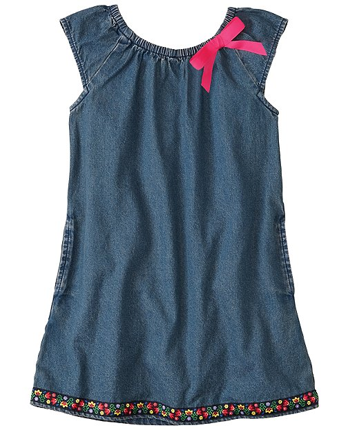 Ribbon Trim Chambray Tunic Dress by Hanna Andersson