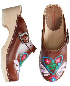 Embroidered Swedish Clogs by Hanna