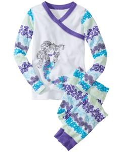 Disney Princess Ariel Long John Pajamas In Organic Cotton