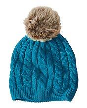 Fur Pom Cable Hat