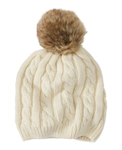 Fur Pom Cable Hat