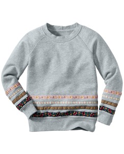 Ribbon Trim Sweatshirt In 100% Cotton