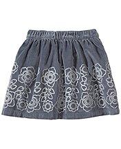 Velveteen Skirt With Embroidered Flowers