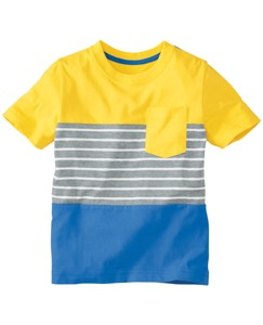 Stripe + Colorblock Pocket Tee