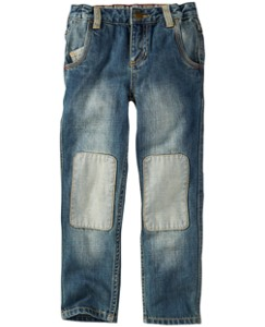 Knee Patch Five Pocket Jeans