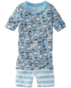Peanuts Short John Pajamas In Organic Cotton