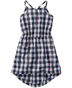 Gingham High Low Dress