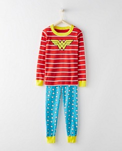 Kids DC Comics™ Wonder Woman Long John Pajamas In Organic Cotton by Hanna Andersson