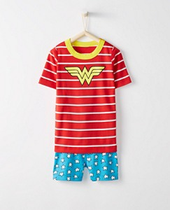 Kids DC Comics™ Wonder Woman Short John Pajamas In Organic Cotton by Hanna Andersson