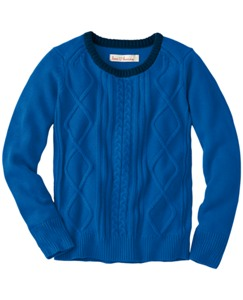 Tipped Crew Cable Sweater by Hanna Andersson