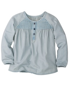 Pintuck Popover In Chambray by Hanna Andersson