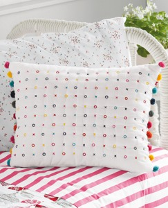 Handstitched X's and O's Pillow by Hanna Andersson