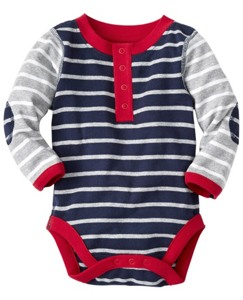 Stripe Happy One Piece Henley in Organic Cotton by Hanna Andersson