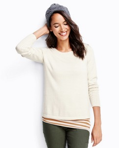 Pointelle Sleeve Sweater In Cotton Cashmere by Hanna Andersson