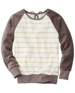 Glitter Stripe Velour Sweatshirt by Hanna Andersson