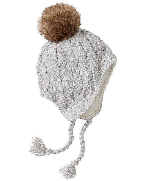 Girls Cozy Fur-Lined Cable Hat by Hanna Andersson