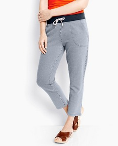 Cropped Stripe Pant In French Terry by Hanna Andersson