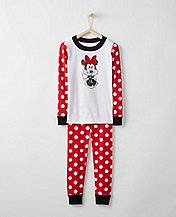 Disney Minnie Mouse Kids Long John Pajamas In Organic Cotton by Hanna Andersson