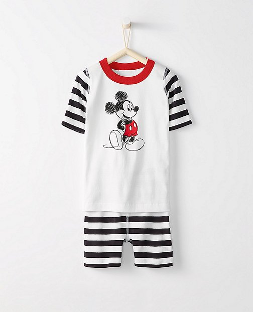 Kids Disney Mickey Mouse Short John Pajamas In Organic Cotton by Hanna Andersson
