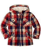 Boys Sherpa Lined Jacket In Quilted Flannel by Hanna Andersson