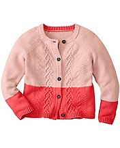 Girls Color Dip Cable Cardigan by Hanna Andersson