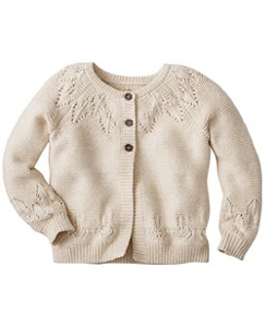 Girls Circle Yoke Cardigan In Cotton & Wool by Hanna Andersson