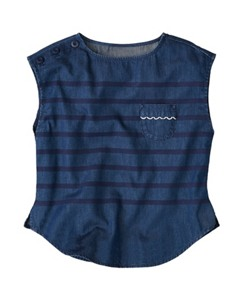 Girls Stripey Chambray Pocket Top by Hanna Andersson