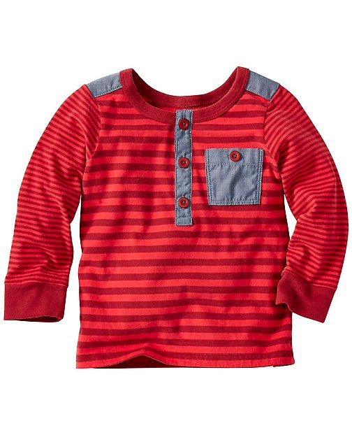 Baby Stripey Henley In Supersoft Jersey by Hanna Andersson