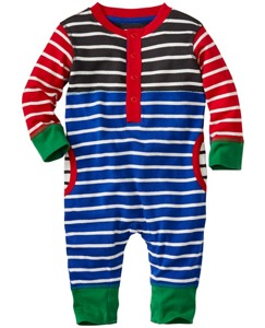 Baby Stripe Happy Romper In Organic Cotton by Hanna Andersson