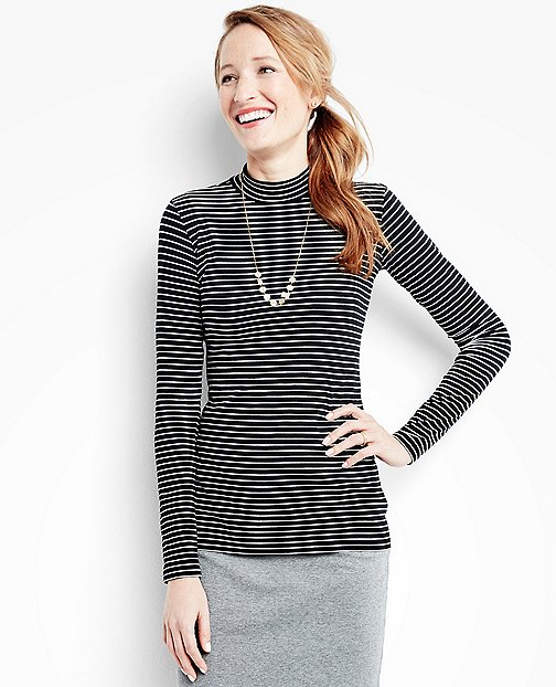 Women's Striped Pima Mock Neck by Hanna Andersson