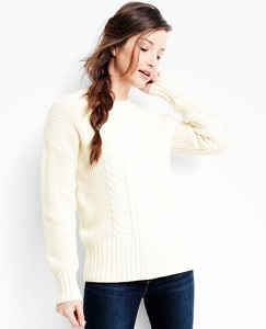 Women's Cable Cozy Sweater In Cotton & Merino by Hanna Andersson