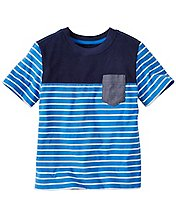 Boys Stripey Pocket Tee In Supersoft Jersey by Hanna Andersson