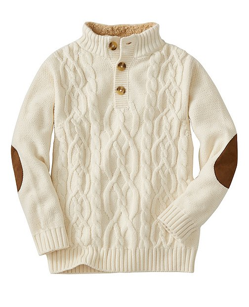 Boys Cable Cozy Henley Sweater by Hanna Andersson