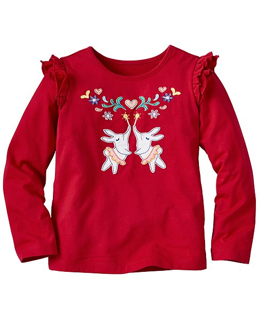 Girls Flutter Sleeve Appliqué Tee by Hanna Andersson
