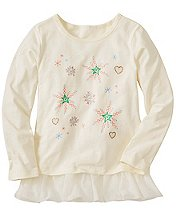 Girls Peplum Tee With Glitter Art by Hanna Andersson