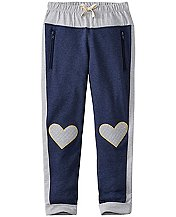 Girls Knee Patch Slim Sweats In 100% Cotton by Hanna Andersson