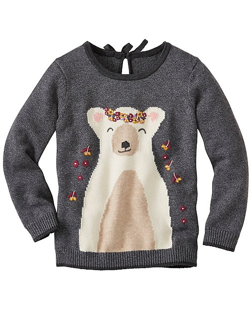 Girls Bear Hugs Front & Back Sweater by Hanna Andersson