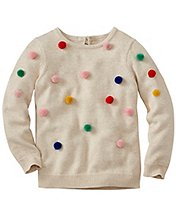 Girls Pom Happy Sweater by Hanna Andersson