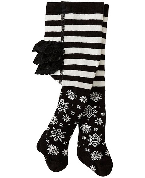 Baby Shimmer Snowflake Ruffle Tights by Hanna Andersson