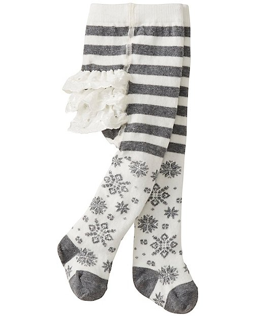 Baby Shimmer Snowflake Ruffle Tights Baby Accessory