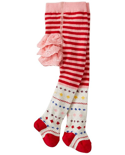 Baby All Is Bright Ruffle Tights by Hanna Andersson