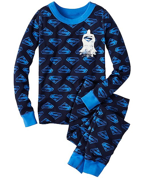 Kids DC Comics™ Superman Glow In The Dark Long John Pajamas by Hanna Andersson