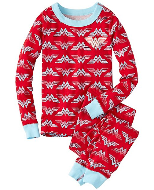 Kids DC Comics™ Wonder Woman Glow In The Dark Long John Pajamas by Hanna Andersson