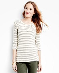 Women's Striped Pima Scoopneck Tee by Hanna Andersson