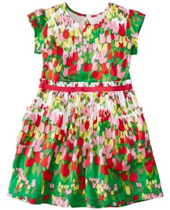 Girls Tulip Fields Dress In Cotton Sateen by Hanna Andersson