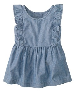 Girls Apron Top In Flecked Chambray by Hanna Andersson