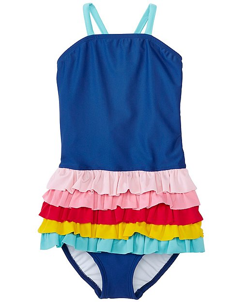 Girls Rainbow Ruffle One Piece by Hanna Andersson