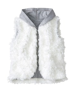 Girls Feathery Fleece Hooded Vest by Hanna Andersson